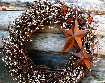 PRIMITIVE Fall Wreath-Rustic Star Wreath-Large Burgundy Cream Berry Wreath-Primitive Home Decor-Scented Wreaths-Holiday Gift-Custom Made