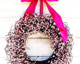 Valentines Day Wreath-Spring Wreath-Easter Door Wreath-Baby Shower Decor-Breast Cancer-Pink Wedding Wreath-Its A Girl Wreath-Mothers Day