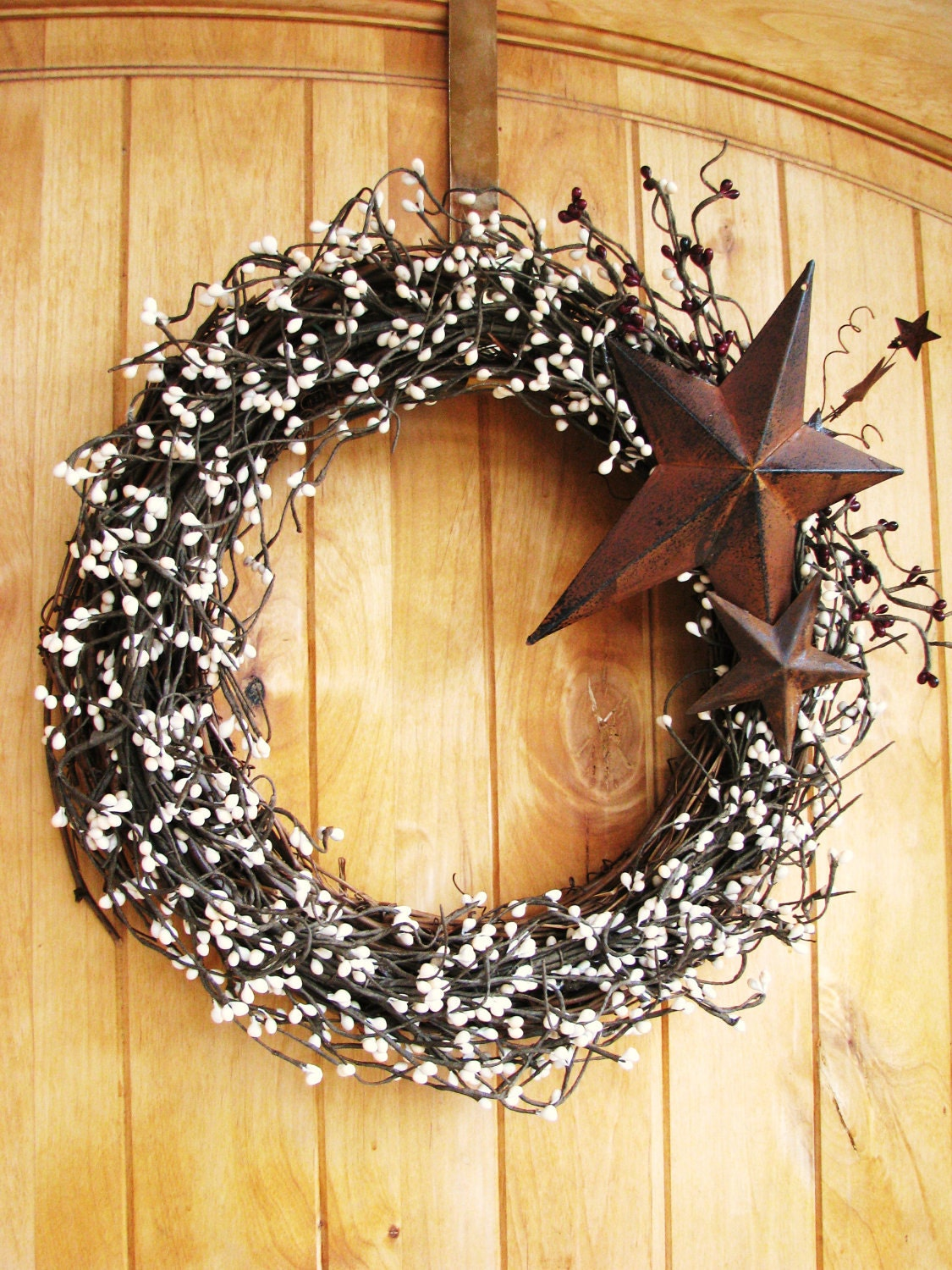 Rustic Country Primitve Star Wreath Creamy By Wildridgedesign