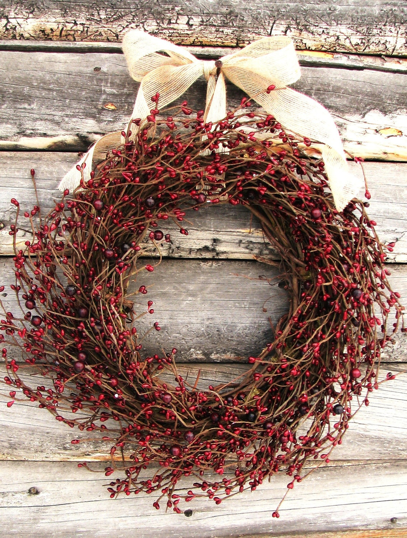 Primitive Country Wreath-Christmas Wreath-Rustic Farmhouse
