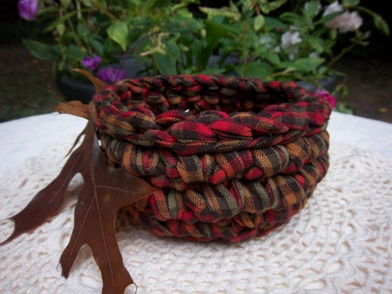 Rustic Baskets - Rustic Baskets Fabric Crochet - Rustic Baskets Autumn - Gingham Rustic Baskets Crochet - Rustic Basket Fall - Rustic Basket
