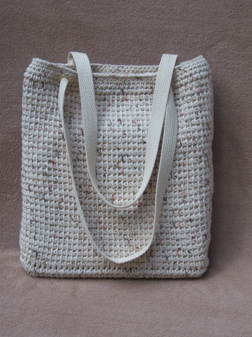 Large Bag Large Bag Beige Cotton Tunisian Crochet Tote Bag