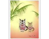 Clever Cats in Waikiki ... ACEO Art Print Yellow