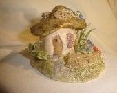 Hand made clay sculpture Fairy Mushroom House