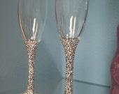 Custom Made Rhinestone Toasting Flutes