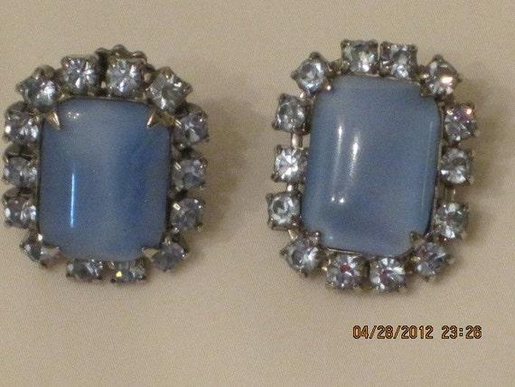 Sky Blue Clip Cabochan & Rhinestones Earrings Vintage Beautiful