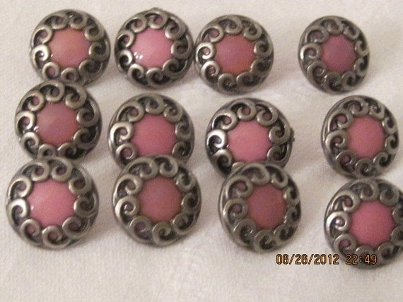 12 Mauve/Pink with Silvertone Vintage Buttons