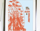 Personalized Modern Art Prints for Couples - Ferris Wheel- 8.5X11 Inches, Other sizes, Valentine's Day Gift
