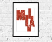 City Map and Typography of Milan- Milan Graphic- 11X14 Inches, custom color and sizes