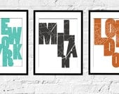 Any 3 City prints, Set of 3, - 8X10 Inches, other custom colors and sizes