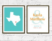 State Artwork Set for Couples, Stately Love, Texas-11X14 Inches, Set of Two, Wedding Gift, Anniversary Gift