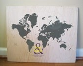 World Map on Wood Panel, World and Love, 16X20 Inches, More sizes available