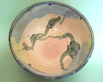 Thrown Porcelain Bowl, pink, yellow, blue