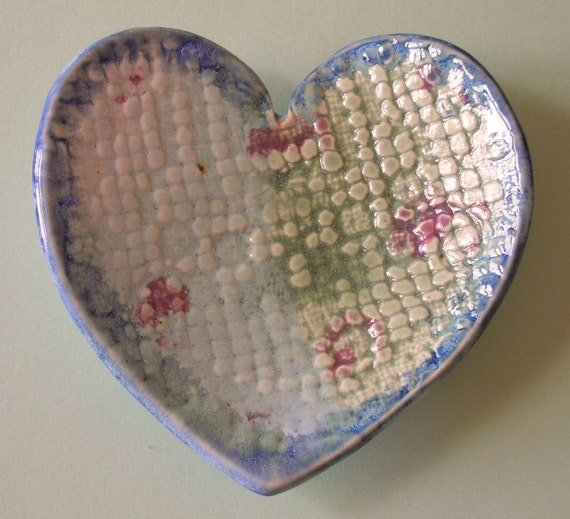 Heart Dish, Handbuilt Porcelain,Lace Textured, pink, sky blue, olive