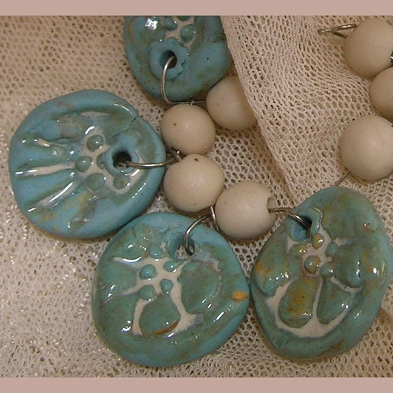 Handmade Beads, Turquoise Porcelain Charms