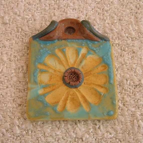 Square Porcelain Pendant, Carved Golden Yellow Flower, Handmade Beads