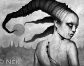 "Print of Original Drawing Entitled ""Demon"""