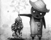 "Print of Original ""Potato Monsters III"" Drawing"