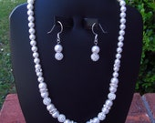 Wedding Jewelry Set White Swarovski Pearls Rhinestones Crystal Bridal Jewelry Set