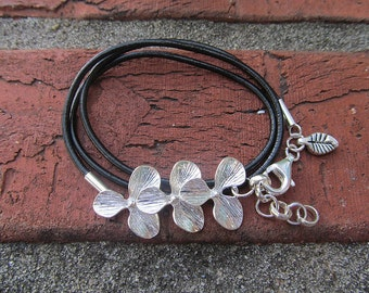 Orchid Leather Cord Wrap Bracelet & Earrings Set Black or Brown