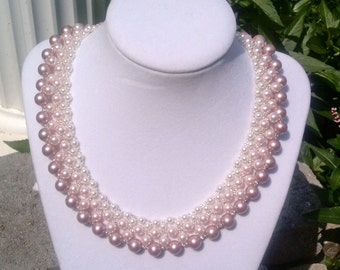Pink Graduated Collar Swarovski Pearl Choker Necklace