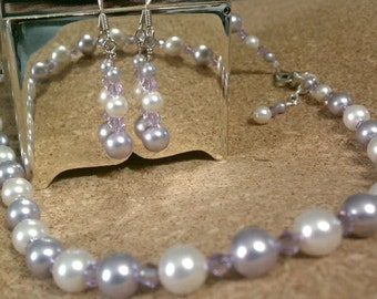 Bridesmaid Jewelry Set Swarovski Crystals and Pearls Lavender White Violet Wedding Jewelry