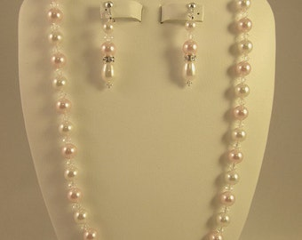 Bridesmaid Jewelry Set Pink and White Swarovski Crystals and Pearls Bridal Jewelry Set
