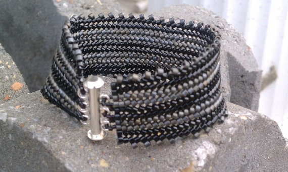 Striped Herringbone Stitched Bracelet Black & Gray Free Shipping
