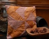 Vintage Hand-Stitched Quilt Block Primitive Sawdust Pillow