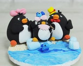 Black Love Birds with baby wedding cake topper Decoration Gift