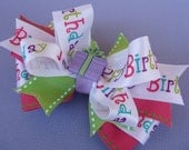 Birthday Hair Bow -- Happy Birthday Boutique Layered Hair Bow with Button Center