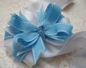 Hair Bow-- Baby Blue Layered Boutique Hair Bow
