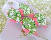 Hair Bow-- Pigtail bow set-- Mini Layered Boutique Hair Bows-- Green Damask and Pink
