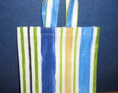 Small Tote Bag - Blue Striped PVC, Oilcloth Bag, Children's Shopping Bag