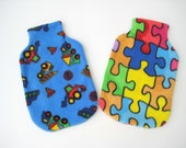 Polar Fleece Hot Water Bottle Cover - Blue Truck Print or Jigsaw Pieces, Cozy Cover
