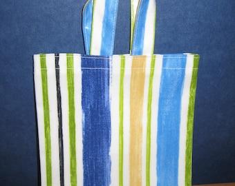 Small Tote Bag - Blue Striped PVC, Oilcloth Bag, Children's Shopping Bag