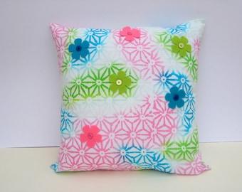 Batik Print Cushion Cover - Cotton,Decorated with Felt Flowers & Buttons, Home Decor