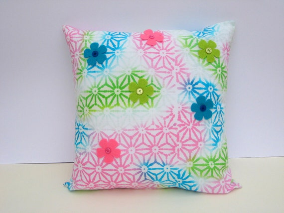 Batik Print Cushion Cover - Cotton,Decorated with Felt Flowers & Buttons, Home Decor