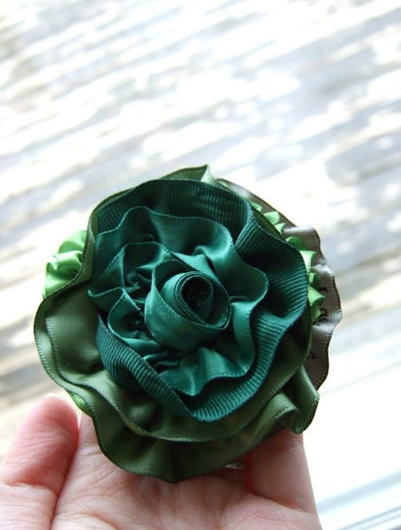 RESERVED: 2 Rose Brooches (Green AND Brown). Flower Corsage, Peony, Upcycled Satin & Grosgrain Ribbons, Emerald, Brown