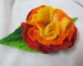 SALE Handmade  Felt flower brooch Orange Yellow Green