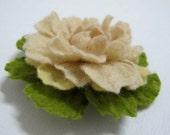 felted Cream flower brooch