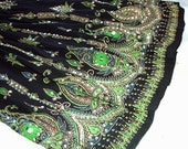 Black Gypsy Skirt: Long Flowy Boho Skirt, Bohemian Indian Maxi Skirt, Black Skirt with Lime Green