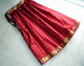 Red Silk Sari Skirt: Pleated Maxi Skirt, Long Indian Saree Flowy Full Skirt, Burgundy Red and Gold