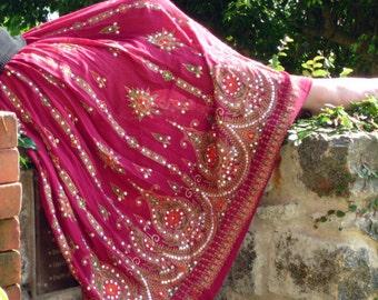Maxi Skirt: Bohemian Peasant Skirt, Long Gypsy Skirt,  Boho Indian Bollywood Sequined Belly Dance Skirt in Red Wine, Maroon, Burgundy