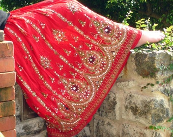 Gypsy Skirt, Bohemian Maxi Skirt, Red Indian Bollywood Skirt, Long Sequin Skirt, Boho Festival Clothing, Belly Dance Skirt, Peasant Skirt