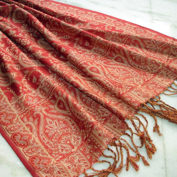 Cashmere Pashmina Vintage Scarf Indian Cashmere Wool and Silk