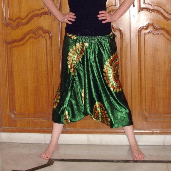 Harem Pants: Green Satin Genie Pants, Yoga Pants, Aladdin Pants, Hammer Pants, Maternity Pants, Loose Pants