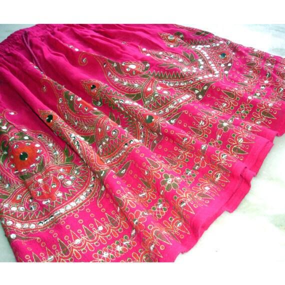 Pink Mini Skirt: Boho Cover Up, Short Indian Gypsy Skirt, Magenta Pink Flowy Bohemian Sequin Skirt