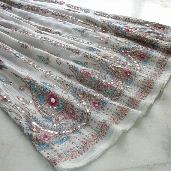 Gypsy Skirt: Boho Maxi Skirt in White with Red and Blue Accents, Bohemian Cover Up, Bollywood Crinkle Skirt, Long Skirt, Boho Skirt
