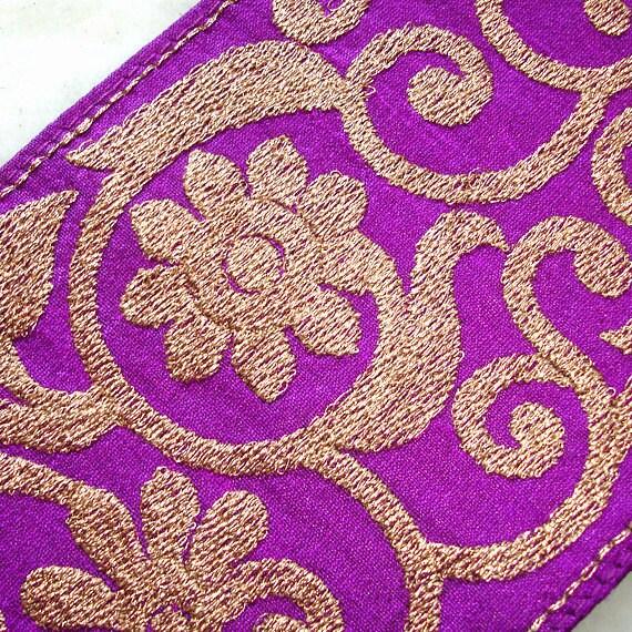 Silk Sari Border: Plum Purple Gold Embroidered Silk Ribbon, Indian SareeTrim, Flower Scroll India Ribbon
